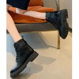 NANIYA Women's Casual boots Black - Black Leather Chunky Heel Ankle Boot - Women
