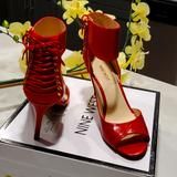 Nine West Shoes   Corset Back Peep Toe Low Heel Shoes With Strap Around The Ankle.   Color: Red   Size: 8