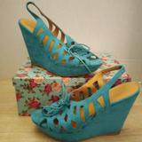 Nine West Shoes | Nine West Suede Teal Slingback Wedges | Color: Blue/Green | Size: 7