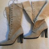 J. Crew Shoes | J Crew Mid Calf Suede, Shearling Lined Lace Up Heeled Boots. | Color: Cream/Tan | Size: 9