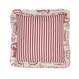 """Vintage Christmas 16"""" Sq. Pillow by BrylaneHome in Ivory Red"""