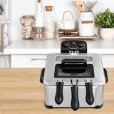 Mutia Electric Deep Fryer 5.3QT/21-Cup Stainless Steel 1700W w/ Triple Basket, Size 8.5 H x 12.0 W x 11.0 D in   Wayfair Y97154380