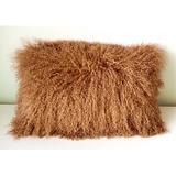 KATIER 100% Genuine Mongolian Lamb Wool Roll Up Pillow Cushion, Home Decorated Sheepskin Throw Pillow w/ Insert in Brown | Wayfair KATIER6995515