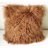 KATIER 100% Genuine Mongolian Lamb Wool Roll Up Pillow Cushion, Home Decorated Sheepskin Throw Pillow w/ Insert in Brown | Wayfair KATIER37e123a
