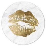 Oliver Gal Simple Kiss Marble Circle - Unframed Graphic Art Plastic/Acrylic in Brown/White, Size 31.5 H x 30.0 W x 1.0 D in | Wayfair