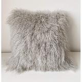 KATIER 100% Genuine Mongolian Lamb Wool Roll Up Pillow Cushion, Home Decorated Sheepskin Throw Pillow w/ Insert in Gray | Wayfair KATIER5bfcdb2