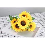 Primrue 5 Bunches Bouquet Artificial Sunflower Floral Arrangement,35 Flowers Per Bunch,Faux Sunflower Bouquet For Home Decoration Wedding Decor