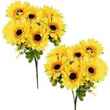 Primrue Artificial Sunflower 2Bouquets, 7 Flowers Each, A Total Of 14 Large Flowers, Suitable For Wedding Banquet Home Decoration… in Yellow Wayfair