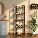 17 Stories -Tier Storage Rack, Rustic Free-Standing Shelf Units, Narrow Display Wood Shelves w/ Top Edge Metal Frame in Brown   Wayfair