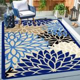 Latitude Run® Medallion Runner Rug Non Skid Washable Accent Distressed Throw Rugs Floor Carpet For Door Mat Laundry Room Hallways Entryway in Blue
