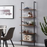 17 Stories Industrial Ladder Shelf, 5-Tier Wood Wall-Mounted Bookcase w/ Stable Metal Frame, 72 Inches Storage Rack Shelves Display Plant Flower