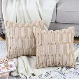 Dakota Fields Pack Of 2 Soft Plush Short Wool Velvet Decorative Throw Pillow Covers Luxury Style Cushion Case Pillow Shell For Sofa Bedroom in Brown
