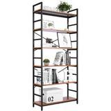 17 Stories 6 Tier Bookshelf Adjustable Bookcase Book Shelves Industrial Storage Shelves Freestanding Shelving Unit Black Metal Frame Tall Bookshelves