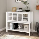 Latitude Run® Sideboard Buffet Storage Cabinet, Dining Room Buffet Table Server w/ Sliding Tempered Glass Doors in White | Wayfair