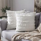 Dakota Fields Set Of 2 Decorative Boho Throw Pillow Covers Linen Striped Jacquard Pattern Cushion Covers Microfiber/Cotton in White   Wayfair