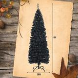 The Holiday Aisle® 6Ft Unlit Artificial Christmas Halloween Pencil Tree w/ Metal Stand in Black, Size 60.0 H x 16.0 W in   Wayfair