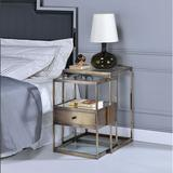 Latitude Run® ACME Enca Nesting Table Set (2Pc Pk) In Antique Brass & Clear Glass 84470 in Yellow, Size 26.0 H x 15.0 W x 18.0 D in | Wayfair
