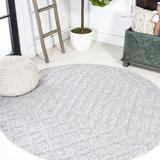 Foundry Select Shanaghy Moroccan Diamond Indoor/Outdoor Rug Light Area Rug Polypropylene in Gray, Size 0.43 D in | Wayfair