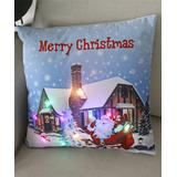Y.F. Pillow Cases colorful - White & Blue Santa House LED Light-Up Throw Pillow Cover