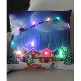 Y.F. Pillow Cases colorful - White & Blue Town LED Light-Up Throw Pillow Cover