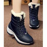 NANIYA Women's Casual boots blue - Blue Faux Fur Stitched Ankle Boot - Women