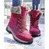 NANIYA Women's Casual boots purple - Purple & Red Faux Fur-Cuff Snow Boot - Women