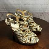 Coach Shoes | 7 Coach Beautify Sexy Snakes Skin Gladiator Heeled Sandals Euc | Color: Tan | Size: 7