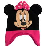 Disney Accessories   Disney, Minnie Mouse Fleecesweater Girls Hat . Pink, Black, And Embroidery. Os   Color: Black/Pink   Size: Osg