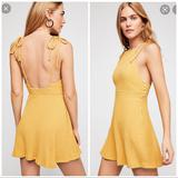 Free People Dresses | Free People Sunbaked Mini Dress Halter Sun Dress Knit Retro Strappy Babydoll | Color: Yellow | Size: S