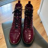 Michael Kors Shoes | Haskell Crocodile Embossed Leather Combat Boot | Color: Gold/Red | Size: 10