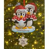 Treasured Ornaments Ornaments black, - Red 'We're Expecting' Penguin's Personalized Name & Date Ornament