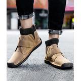 Ceville Men's Casual boots Khaki - Khaki Strap-Accent Leather Ankle Boot - Men