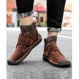 Ceville Men's Casual boots Brown - Brown Strap-Accent Leather Ankle Boot - Men