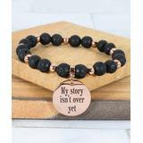 Pink Box Women's Bracelets Rose - Natural Lava & 14k Rose Gold-Plated 'My Story' Stretch Bracelet