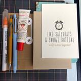 Anthropologie Office | Funnylove Romance Cute Blank Card | Color: Tan/Cream | Size: Os