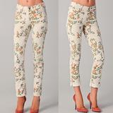 Anthropologie Pants & Jumpsuits | Citizens Of Humanity | Anthropologie Floral Jeans | Color: White/Silver | Size: 29