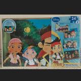 Disney Toys | Jake & The Neverland Pirates Wooden 4-Puzzle Set | Color: Brown/Black | Size: Four 24-Piece Puzzles