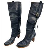 Coach Shoes | Coach Boots Women'S Morgann Black Leather Slouchy Heeled Knee High Sz 9 B Italy | Color: Black | Size: 9