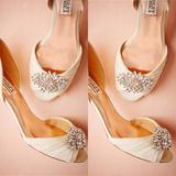 Anthropologie Shoes | Bhldn Badgley Mischka Libretto Kitten Heels | Color: Tan | Size: 6