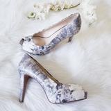 Nine West Shoes | Nine West Platform Peeptoe Heels | Color: White/Silver | Size: 8