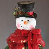 Snowflake Snowman Tree Topper Red , Red