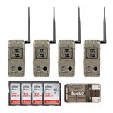 Cuddeback G-5086 CuddeLink Double Barrel 20MP Trail Camera (4-Pack) with Four 32GB SD Cards, and Card Reader in Khaki/Tan