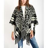 Ornella Paris Women's Shawls Black - Black & Gray Leopard & Argyle Fringe Wool-Blend Shawl - Women & Plus