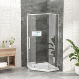 """Beslend 34-1/8"""" X 72"""" Semi-Frameless Shower Door Neo-Angle Hinged Shower Enclosure, Chrome Tempered Glass in Gray, Size 72.0 H in   Wayfair"""