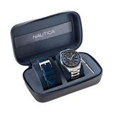 Nautica Men's Ocean Beach Stainless Steel And Silicone Watch Box Set Multi, OS
