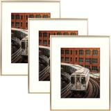 """Mercer41 3 Piece 11"""" X 14"""" Metal Gallery Wall Set Frame Set in Gold in Yellow, Size 21.0 H x 17.0 W x 0.75 D in 