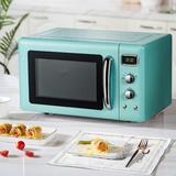 SDPP 0.9 Cu.Ft Microwave Oven, 900W Retro Countertop Compact Microwave Oven, Defrost & Auto Cooking Function, LED Display in Black/Green/White