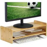 long_ye_da Bamboo Monitor Stand Riser, Laptop Printer Stand, Desktop Screen Riser w/ Storage Design, Computer Monitor Stand & Desk Organizer 2 Tiers