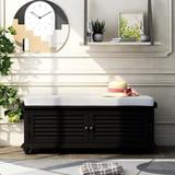Rosecliff Heights Wooden Storage Bench Wood in Black, Size 18.1 H x 47.1 W x 15.0 D in | Wayfair DF43F59719174B268B92452C054C8264