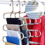 Rebrilliant S-Type Stainless Steel Clothes Hanger Is Suitable For Hanging Pants & Jeans. Wardrobe Storage Rack (5-Piece Set (Upgrade)) Metal in Blue